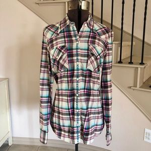 Lucky Brand Plaid Button Up Top Flannel Dungarees
